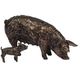 Gleneagles Studio Gallery Collection Bronze Effect Figurine - Sow with Piglet