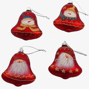 Christmas Tree Hanging Decorations - Red Bells Pack of 4 Assorted