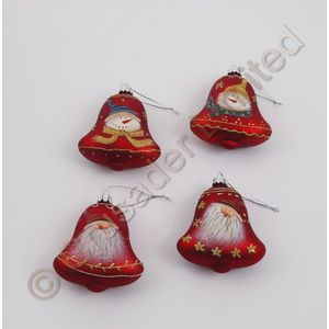 Set of 4 Christmas Tree Bell Decorations - Red