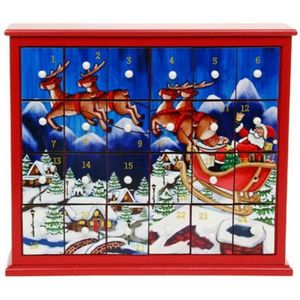 Christmas Advent Box with Santa Flying Scene