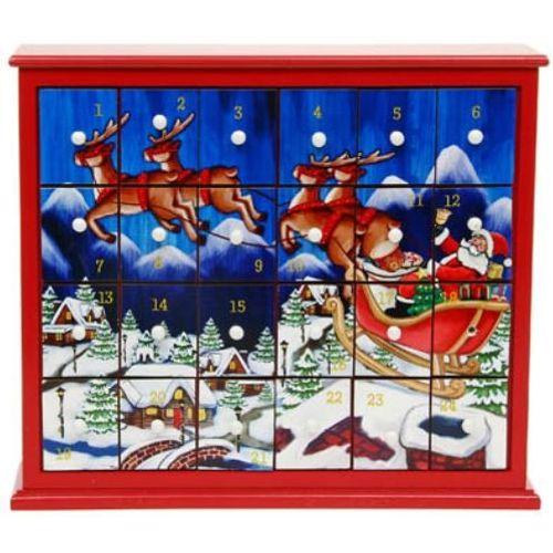 Christmas Advent Box with Santa Flying Scene