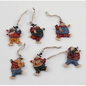 Christmas Tree Decorations 6 Pack - Snowmen