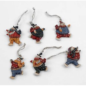 Christmas Tree Hanging Decorations - Snowman 7cm Pack of 6 Assorted