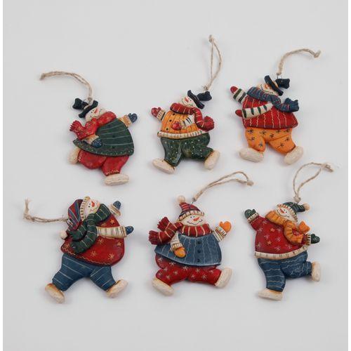 6 Large Christmas Hanging Tree Decorations - Snowmen