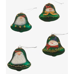 Christmas Tree Hanging Decorations - Green Bells Pack of 4 Assorted