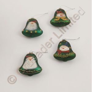 Set of 4 Christmas Tree Bell Decorations- Green