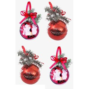 Christmas Tree Baubles - Red Merry Christmas Santa & Snowman Pack of 4 Assorted