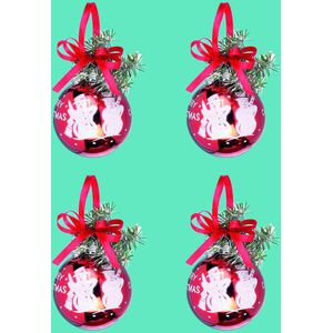 Red Merry Christmas Tree Baubles set of 4