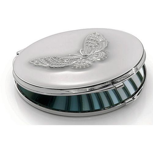 Silver Circular Compact Mirror Butterfly Design Ref A23245