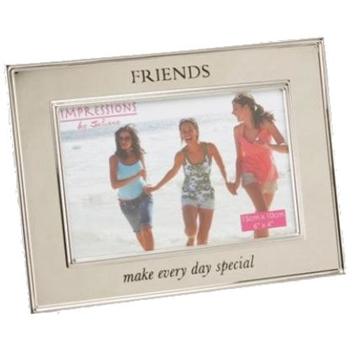 "Juliana Impressions Shiny Silver Plated Photo Frame 6"" x 4"" - Friends Make Every Day Special"