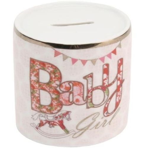 Elliptical Baby Girl Pink Money Bank Ref LD115G
