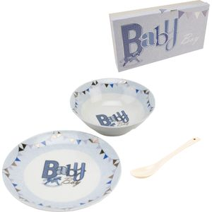 Laura Darrington Plate Bowl & Spoon Gift Set - Baby Boy