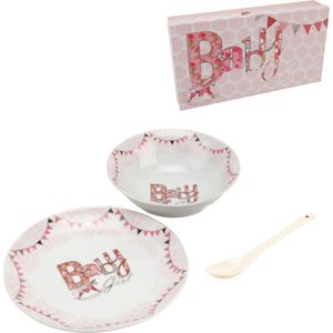Baby Girl Plate Bowl & Spoon Gift Set