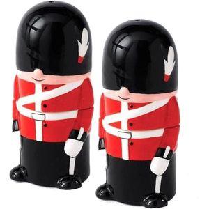 Ceramic Salt & Pepper Cruet Set - Traditional Queens Guard Soldiers