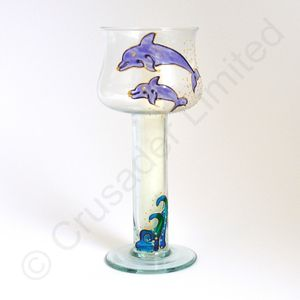 Dolphin Glass Floating Candle Holder