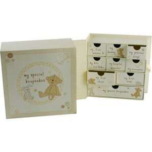 Button Corner Book Keepsake Memory Box With Drawers