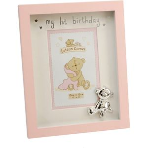 "Button Corner My 1st Birthday Photo Frame 4"" x 6"" - Pink"