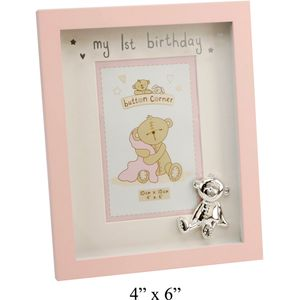 Button Corner My 1st Birthday Photo Frame (Pink)