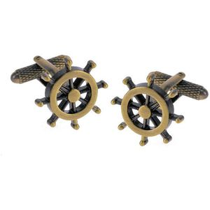 Ships Wheel Cufflinks - Burnished Gold Finish