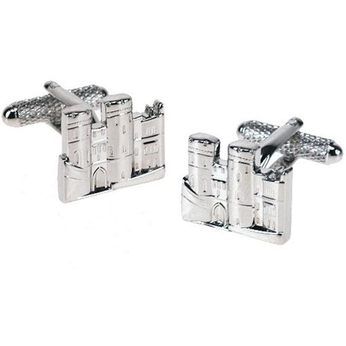 British castle  Cufflinks in a shiny silver finish