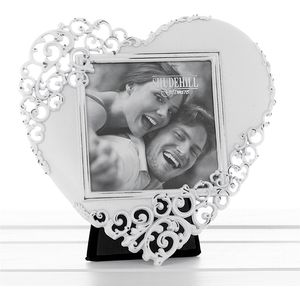 White Wash Lace Love Heart Photo Frame 3x3""