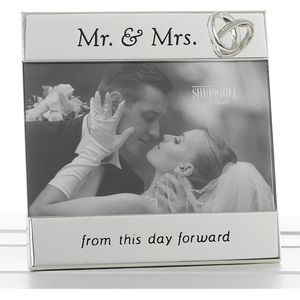 "Message Photo Frame 6"" x 4"" - Mr & Mrs"