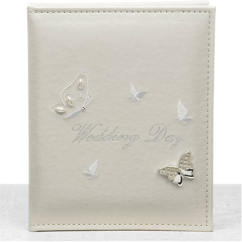 """Butterfly Wedding Photo Album Holds 24  5"""" x 7"""" Photographs"""