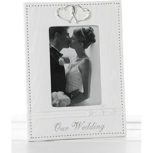 "Silver Hearts White Photo Frame 5"" x 7"" - Our Wedding"