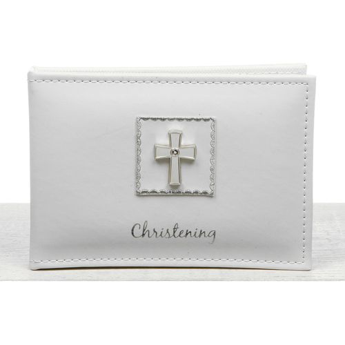 "Christening Photo Album 6"" x 4"" - Diamond Cross"
