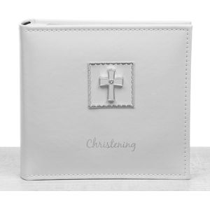 "Christening Photo Album 6"" x 4"" - Diamond Cross"