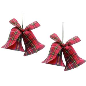 Christmas Tree Hanging Decorations - Red Tartan Fabric Bells Pack of 2