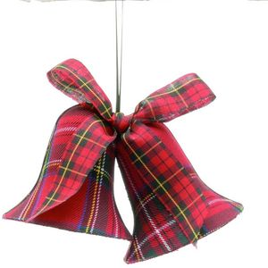 Twin Bells Tartan Fabric Tree Decoration set of 2