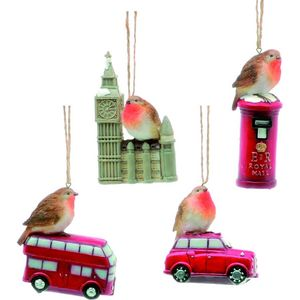 Christmas Tree Hanging Decorations - London Icons with Robin Pack of 4 Assorted