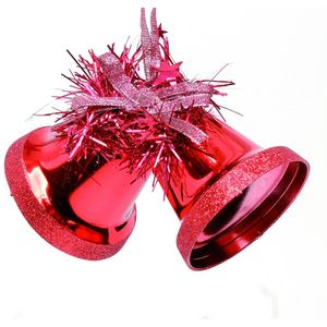 Set of 6 Twin Bells Christmas Tree Decorations - Red