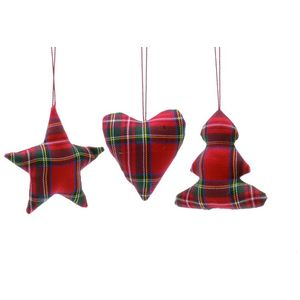 Set of 3 Tartan Christmas Tree Hanging Decorations