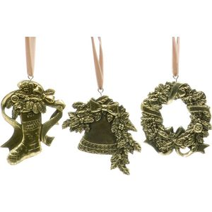 Christmas Tree Hanging Decorations - Antique Gold Effect Pack of 3 Assorted