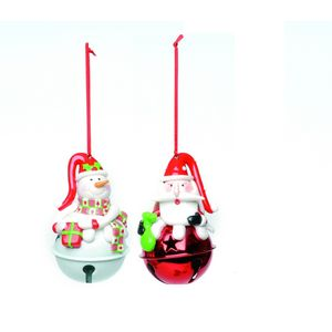 Set of 2 Jingle Santa & Snowman Tree Decorations