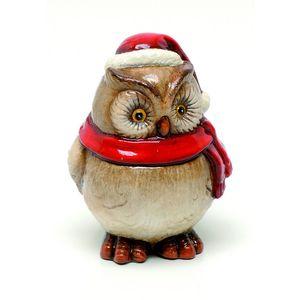 Christmas Decoration - Festive Owl Ceramic Figurine