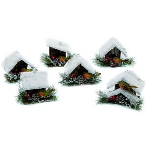 Set of 6 Robin & Bird House Tree Decorations