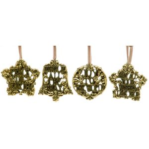 Christmas Tree Hanging Decorations - Antique Gold Effect Pack of 4 Assorted