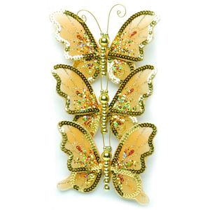 Christmas Tree Clip On Decorations - Gold Butterflies Pack of 3