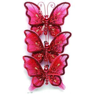 Christmas Tree Clip On Decorations - Red Butterflies Pack of 3
