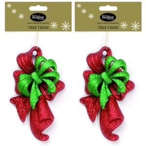 Glitter Bow Tree Decoration - Red & Green x2