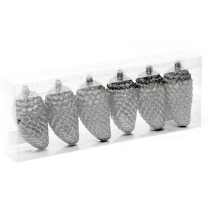 Glitter Pine Cone Christmas Tree Decorations Pack of 6 - Silver