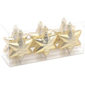 Christmas Tree Baubles - Shatterproof Gold Star Pack of 6