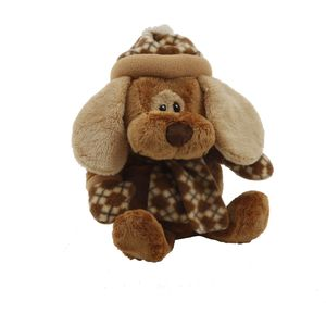 Cute Puppy Dog Soft Toy with Diamond Pattern Scarf
