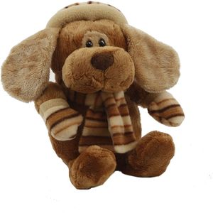 Cute Puppy Dog Soft Toy with Stripy Pattern Scarf