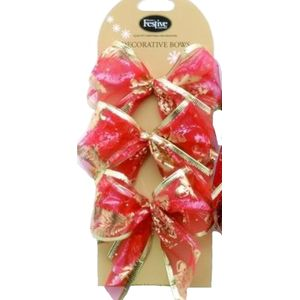 Decorative Red Bows with Gold Christmas Trees Set of 6