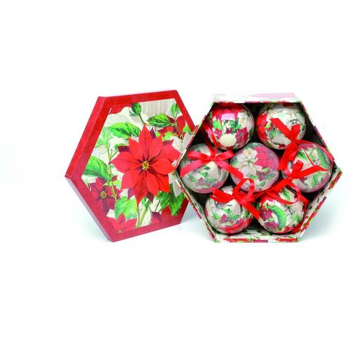 Christmas Tree Baubles - Decoupage Poinsettia Flowers Pack of 7 Assorted