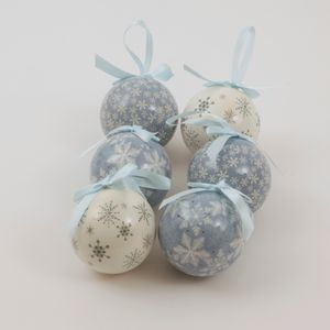 Christmas Tree Baubles - Decoupage Snowflake Pack of 6 Assorted